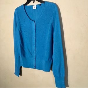 """CAbi Turquoise """"Darby"""" Button Front Cardigan, Sz L"""
